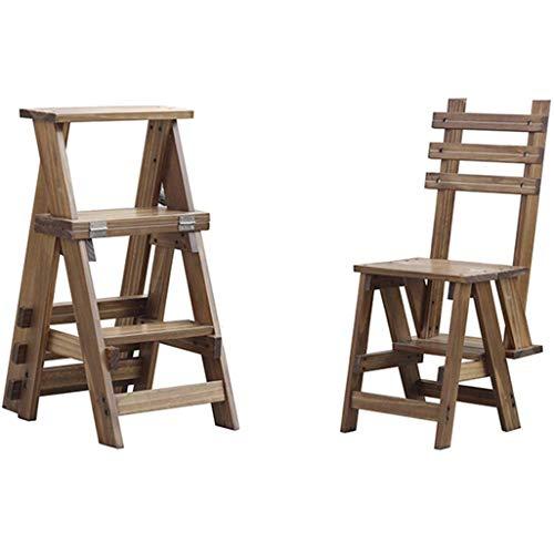 TTWUJIN Klappbare tragbare Leiter Tritthocker Klappbare Trittleiter Massivholz Verbreiterter Multifunktionsklappbarer Regaltreppen-Treppenstuhl mit 3 Stufen für das Küchenbüro der Hausgartenbibliothe