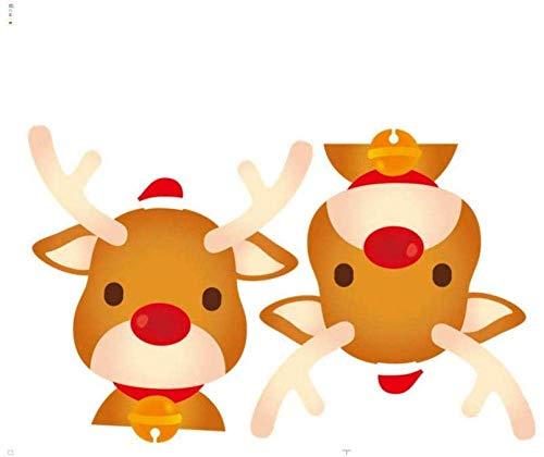 Doe-het-zelf PVC muursticker schattige elanden kerstraam glas festival stickers kerstman muurschilderingen Nieuwjaar kerstversiering voor thuis