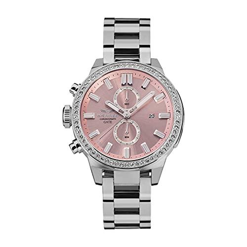 HÆMMER G-1 - Reloj de pulsera para mujer (cronógrafo de cuarzo, analógico, 45 mm de diámetro), color plateado y rosa