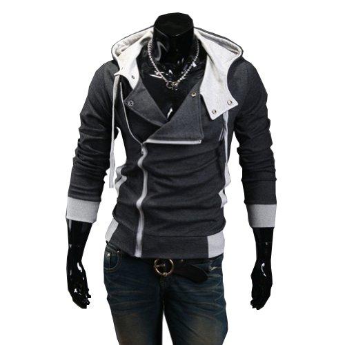 Cottory Men's Oblique Zipper Hoodie Cosplay Costume slim fit Jacket DarkGrey Large