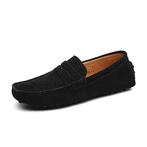 DUORO  Herren Klassische Weiche Mokassin Echtes Leder Schuhe Loafers Wohnungen Fahren Halbschuhe, 42 EU, Schwarz
