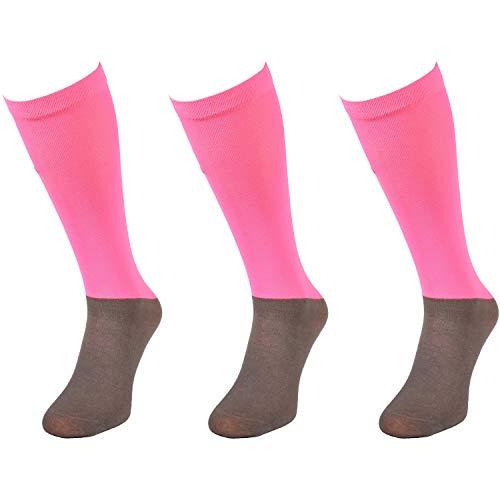 Comodo Calcetines de Montar para niños | Damas y Caballeros | Antideslizantes | 3 Pares | Microfibra 2 - Neon Rosa | Tamaño: 39-42