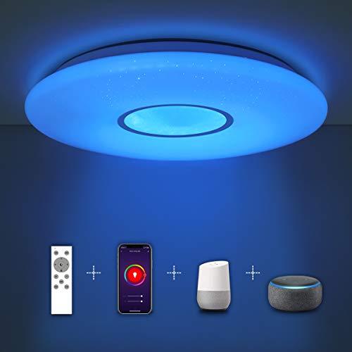 SHILOOK Smart LED Deckenleuchte Dimmbar mit Fernbedienung, 24W Alexa Kompatibel Deckenlampe Farbwechsel, 38cm Wlan Rund Sternenhimmel, für Schlafzimmer Kinderzimmer Wohnzimmer, 2300lm Modern Weiß