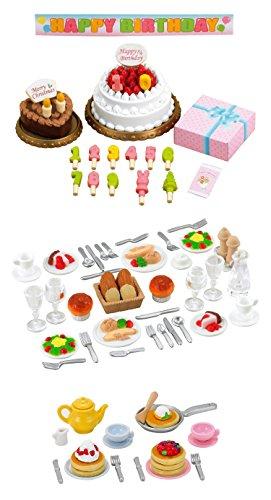 Tres diferentes juegos de Sylvanian Families–alimentos tema–tarta de cumpleaños, cena y Pancake conjuntos