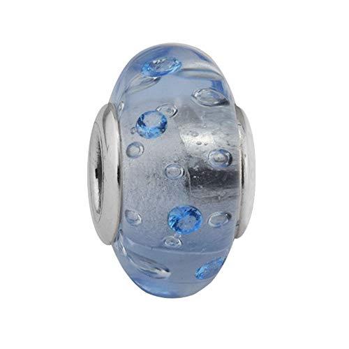 LILANG Pulsera de joyería Pandora 925, encantos de Cristal de Murano de Hielo Natural, se Adapta a Cuentas de Cz Azul de Plata esterlina, Regalo DIY para Mujeres Enteras