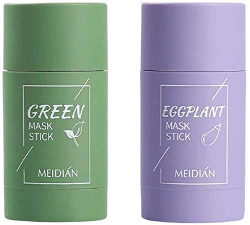 TTCPUYSA 2 pcs Green Tea Purifying Clay Stick Mask Deep Clean Pore Oil Control Anti-Acne Eggplant Fine Solid(Green Tea + Eggplant)