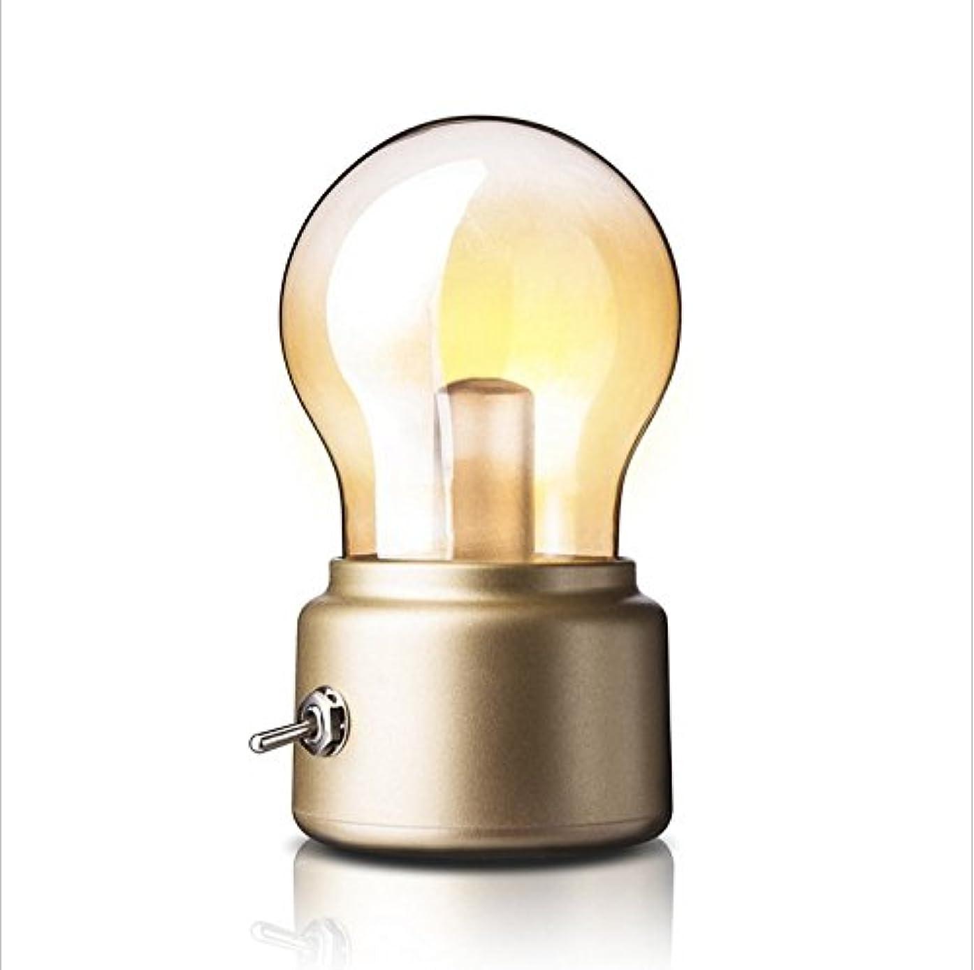 New England retro bulb lights highlight LED night light to restore ancient ways small desk lamp charging creative light a night light (gold)