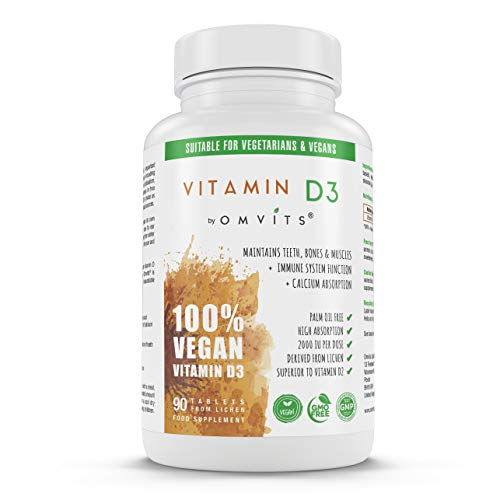 Vegan Vitamin D3 2000 iu High Strength Palm Oil Free Supplement - 90 Tablets - 3 Month Supply - VIT D from Lichen Extract - Gelatine Free - Sustainable & Pure