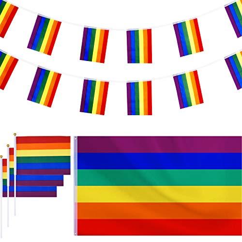 150 por 90 cm de Bandera de Lesbiana Gay de Arco Iris Colgante de Poliéster Grande con 1 Pieza de Bandera, y 12 Piezas de Bandera de Arco Iris Pequeña para Decoraciones Desfile de Orgullo LGBT
