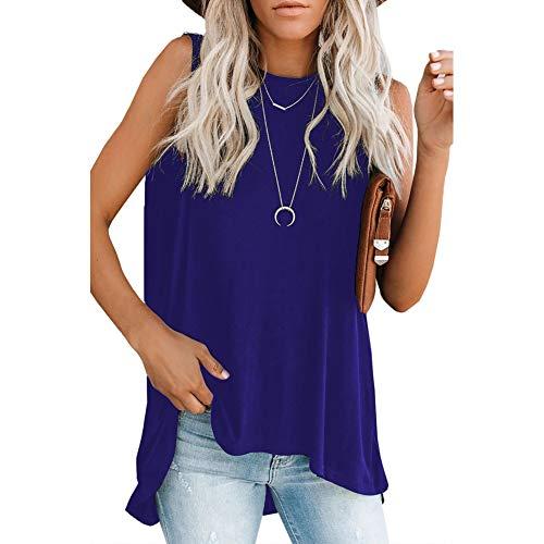 YYH Dames T-shirt Zomer Tank O Nek Mouwloos A-lijn Mini Jurk Button Down Shirt Jurk XL Donkerblauw