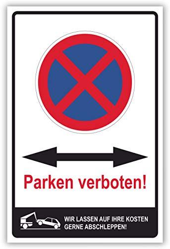 SCHILDER HIMMEL anpassbares Parken verboten Doppelpfeil Schild 29x21cm Alu-Verbund mit Schrauben, Nr 6444 eigener Text/Bild verschiedene Größen/Materialien