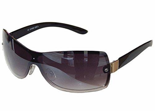 Sonnenbrille Aviator Brille MonoglasSportlicher Style Damen Herren M 35 (Schwarz Silber)