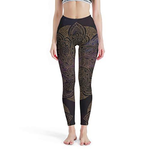 O4EC2-8 Damen Lotus Patternen Sport Leggings Classics Bauchregulierung Leg Pants Yoga - Lotus Thermo Leggings Damen White s