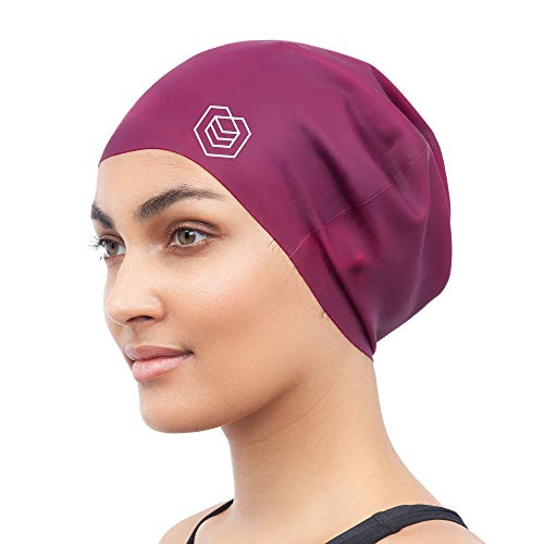 SOUL CAP - Large Swimming Cap for Long Hair   Designed for Long, Thick or Curly Hair   Adults, Kids and Children   Women & Men Silicone (Burgundy)