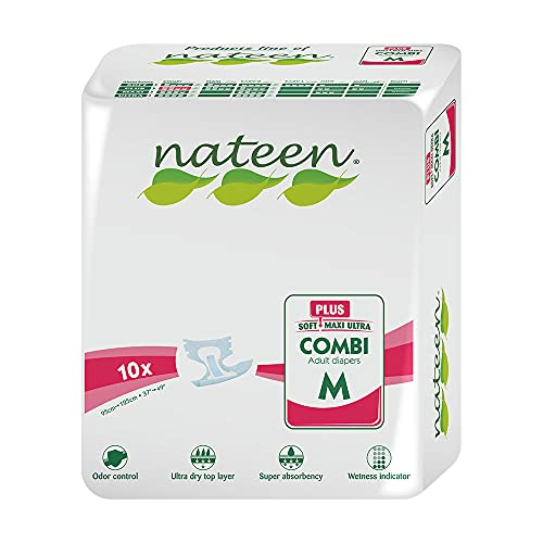 hp adult diapers Nateen Combi Plus High Absorbency Hypoallergenic Adult Diapers, Incontinence Briefs with Odor Control, Medium 38