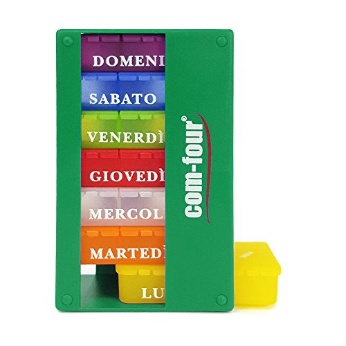 com-four 1x Dispenser per farmaci in Italiano - Scatola per medicinali per 7 Giorni - 3 Scomparti ciascuno - portapillole - Scatola per compresse - Dispenser settimanale [Italiano] (Verde Scuro)