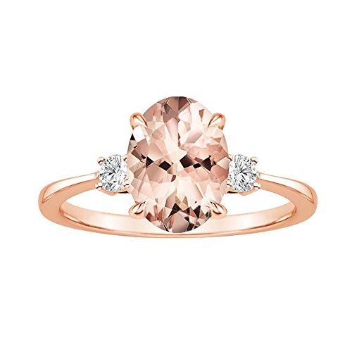 Ei Faux Morganit Strass eingelegten Finger Ring Frauen Mode Hochzeit Schmuck, Rose Gold, US 10
