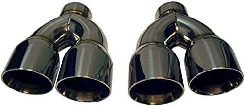 "MMI Stainless Steel Exhaust Tips 3.00"" Inlet & 4.00"" Dual Outlet (PAIR) TIP WELD ON 3in 4in Universal SS SILVER POLISHED BEAUTIFUL QUALITY"
