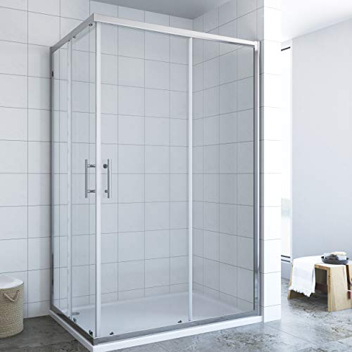 AQUABATOS Duschkabine 70x120x185cm Eckeinstieg Duschabtrennung 6mm ESG Glas Schiebetür Duschtür Duschwand