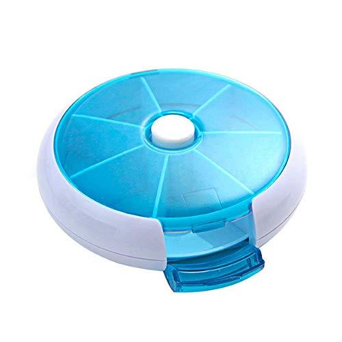 Lecez Caja de píldoras separadas, Caja de píldoras de píldoras de la píldora de uso doméstico creativo circular para una semana, girando una cuadrícula de siete partes sin BPA para contener vitaminas,