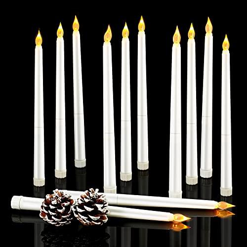 12 Pezzi Candele per Finestre Senza Fiamma Luci per Finestre di Natale a Batteria con Candele Coniche Tremolanti con Stoppino a LED per Decorazioni di Cena di Nozze a Casa