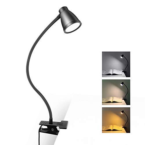 Leselampe Bett Klemmleuchte, 3 Lichtfarben 5 Dimmbare Helligkeit, USB Schreibtischlampe Tischlampe Verstellbarer Schwanenhals Nachttischlampe (Schwarz, Kein Adapter)