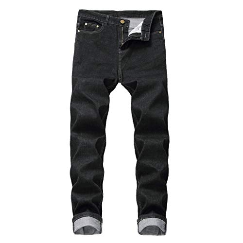 Jean Big & Tall Classic Relaxed Fit Flex Loose Large Size Fat Casual Fashion Hip Hop Street Dance Denim Trousers Men (34,Black)