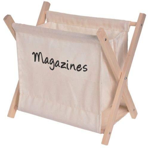 Koopp Zeitungsständer aus Segeltuch, zusammenklappbar, Holz cremefarben
