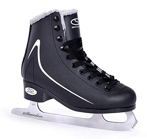 SMJ Calgary Herren Schlittschuhe Eiskunstlauf Eislaufschuhe Klassische Eislauf Schwarz | Größen: 40, 41, 42, 43, 44, 45 (41)