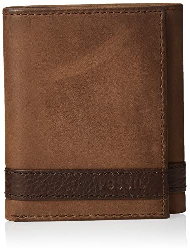 Fossil Men's Quinn Leather Trifold Wallet, Brown