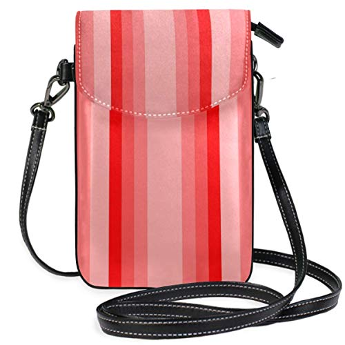 XCNGG Red Monochrome Vertical Stripes Cell Phone Purse Wallet for Women Girl Small Crossbody Purse Bags