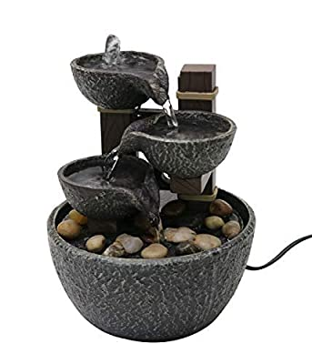 """Nature's Mark 7"""" H Tiered Rock Bowl Tabletop Water Fountain with Natural River Rocks (Power Cord Attached)"""