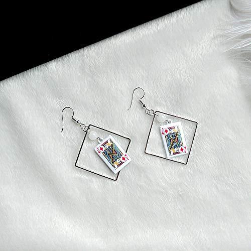 HBHBS Corea Moda Geométrica Funy Poker Pendientes Naipes cr
