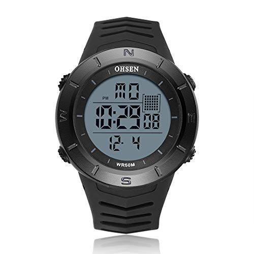 Reloj de pulsera digital negro para hombre, cronómetro OHSEN Sport Buceo Militar reloj de niños relojes de choque al aire libre LED reloj de moda montre homme (color negro)