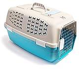 BPS® Transportín Rígido para Perro o Gato, Animales Domésticos, Transportín para Viaje Tamaño M/L para Elegir BPS-3205 (Azul, M)