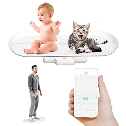 APP Básculas para bebés mascotas con bluetooth , con estante de altura (máx. 70 cm) Medición precisa del peso (máx. 100 kg) adecuado para niños pequeños / cachorros, / gatos / adultos, material ABS