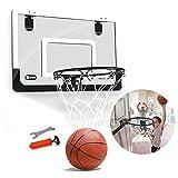 Knowledgi - Mini canasta de baloncesto portátil con bomba de baloncesto y otros accesorios para juegos de baloncesto al aire libre, se puede enganchar en la puerta
