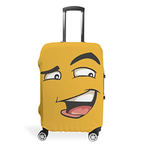 Knowikonwn Bad Smile Red Face Travel Suitcase Cover - Funny Expression Polyester Multi Size fit Most Luggage Case white7 30-32in