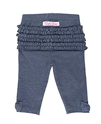 RuffleButts Baby/Toddler Girls Faux Denim Bow-Detail Capri Leggings - 12-24m