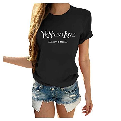 iYmitz Damen YESAINTLOVE Bedrucktes Kurzarm T-Shirt Oberteil Sommer Herz Druck Blusen Casual Bluse Hochwertiges Alltags Baumwolle T-Shirt Freizeit Lose Rundhals Top T-Shirt Schwarz