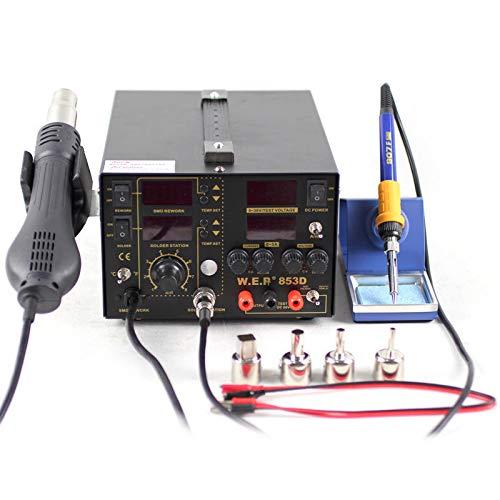 Estación de soldadura de aire caliente 853D SMD, soldador 3 en 1, indicador de temperatura 100 ℃-480 ℃