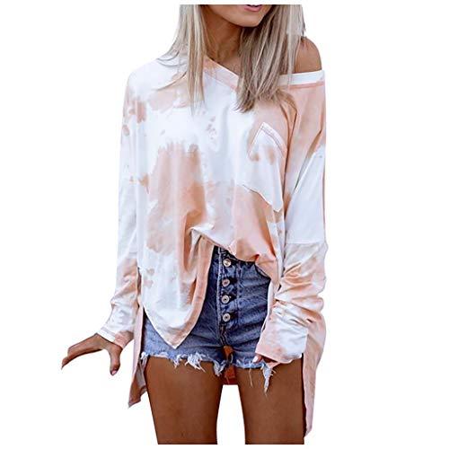 Dosoop Womens Long Sleeve T Shirt Tie Dye Color Block Shirts Blouses V Neck Casual Tee Tops Summer Sweatshirt Pullover