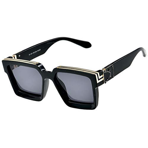 (Caja de regalo) Gafas de sol millonarias retro Cuadradas Metal punk Rock Hip hop Gafas de sol hombres mujeres