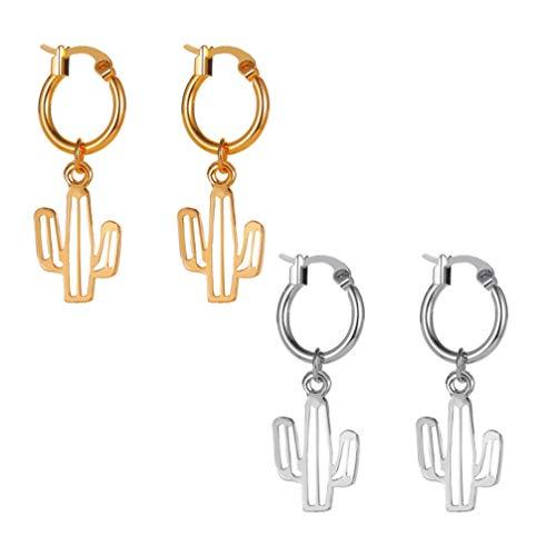Holibanna 2 Pairs Cactus Cacti Charms Pendant Hollow Desert Plant Cactus Long Tassel Dangle Dainty Earrings Gold Silver