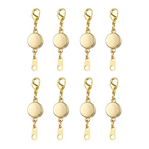 ShiftX4 8 piezas de cierre magnético de joyería, extensor de joyería de Año Nuevo, para hacer joyas (oro/plata/oro rosa)