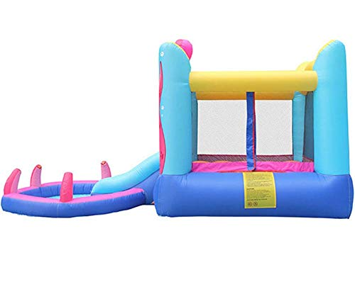 Inflatable Castle Children'S Trampoline Slide Play Facilities, Large Indoor Outdoor Slides Naughty Playground Equipment Toys Suitable For 2~3 People,380 * 200 * 180Cm