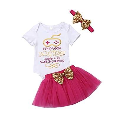 Newborn Baby Girls Short Sleeve Romper Bodysuit Tops Bowknot Tulle Tutu Skirts Headband 3pcs Summer Outfit 0-18M (3-6M, Rose Red)