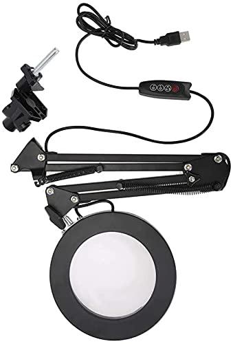 FDABFU 5X LED Lupa Lámpara de Escritorio Soporte de Abrazadera Brazo Ajustable Salón Lámpara de Aumento Delineador de Ojos Manicura Tatuaje Belleza Luz, 2 Modos y Regulable