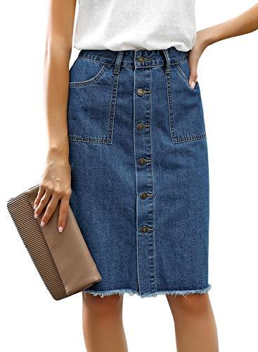luvamia Women's Casual Mid Waisted Button Down Frayed Raw Hem Relaxed Fit Denim Jean Skirt Denim Jean Blue Size Medium