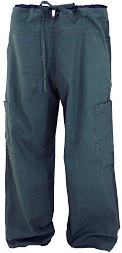 Guru-Shop Yogahose, Goa Hose mit Stickerei, Herren, Grau, Baumwolle, Size:M (48), Männerhosen Alternative Bekleidung
